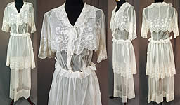 Titanic Edwardian Embroidered White Tulle Net Lace Crop Top Dress Tea Gown
