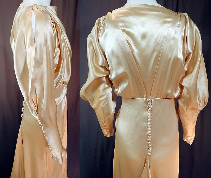 Vintage cream silk charmeuse cutout sleeve bias cut for Silk charmeuse wedding dress
