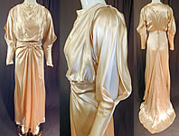 Vintage Cream Silk Charmeuse Cutout Sleeve Bias Cut Wedding Gown Train Dress