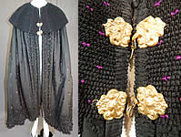 Victorian Purple Black Silk Damask Large Embroidered Shawl Collar Cloak Cape