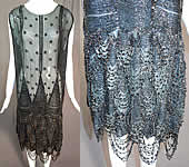 Vintage Art Deco Black Silk Sequin Polka Dot Jet Beaded Fringe Flapper Dress