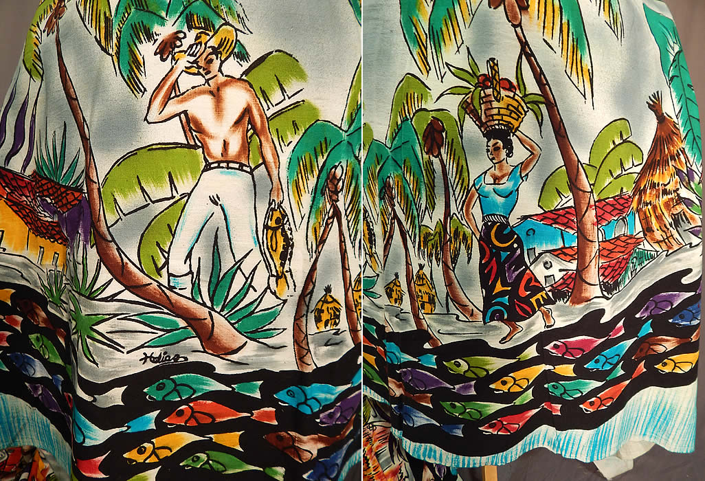 Vintage Uncut Hand Blocked Fish Shirtless Man Signed Mexico Circle Skirt Fabric
