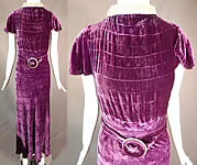 Vintage 1930s Art Deco Purple Pintuck Pleated Velvet Belted Evening Gown Dress