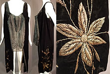Vintage Black Velvet Gold Metallic Stumpwork Embroidery Flapper Tunic Dress