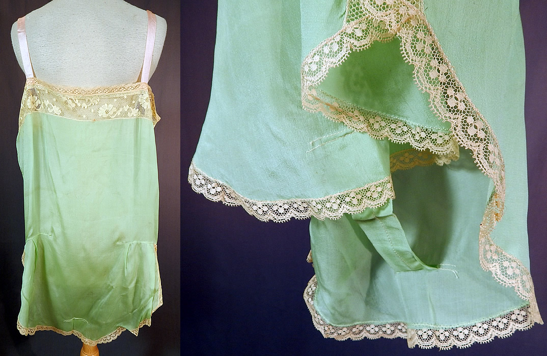 Vintage Mint Green Silk Rosette Lace Lingerie Chemise Camiknicker Teddy