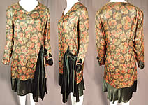 Vintage Art Deco Gold Lamé Lame Pansy Print Green Velvet Skirted Flapper Dress