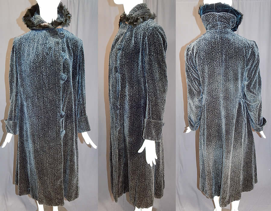 Vintage Art Deco Black & Gray Striped Velvet Fur Collar Trim Winter Coat