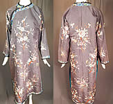Antique Chinese Purple Silk Ji Pastel Embroidered Floral Butterfly Qipao Robe
