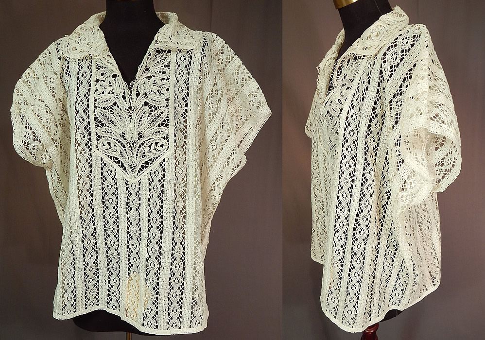 Vintage Handmade Russian Bobbin Tape Lace White Shirt Blouse Top