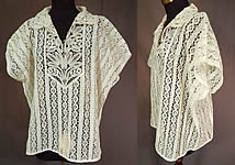 Vintage Handmade Russian Bobbin Tape Lace White Shirt Blouse Top Large NWT