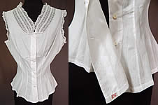 Victorian Lingerie White Cotton Batiste Lace Trim Camisole Corset Cover Top Vtg