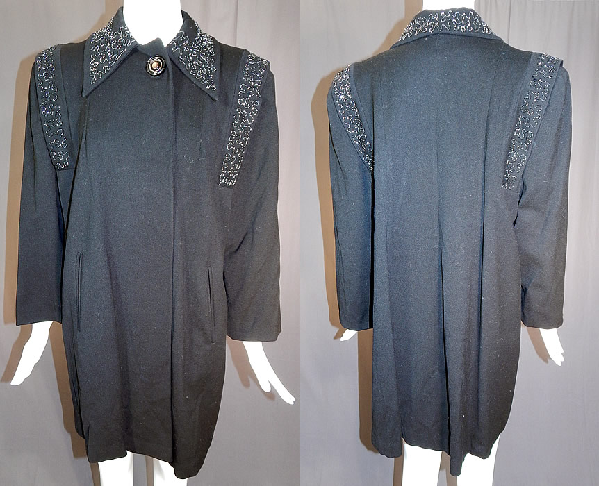 Vintage Black Beaded Gabardine Wool Swing Coat Winter Jacket
