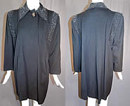 Vintage 1940s WWII Black Beaded Gabardine Wool Swing Coat Winter Jacket