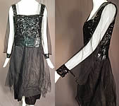 Vintage Art Deco Black Silk Tulle Net Sequin Beaded Evening Gown Flapper Dress