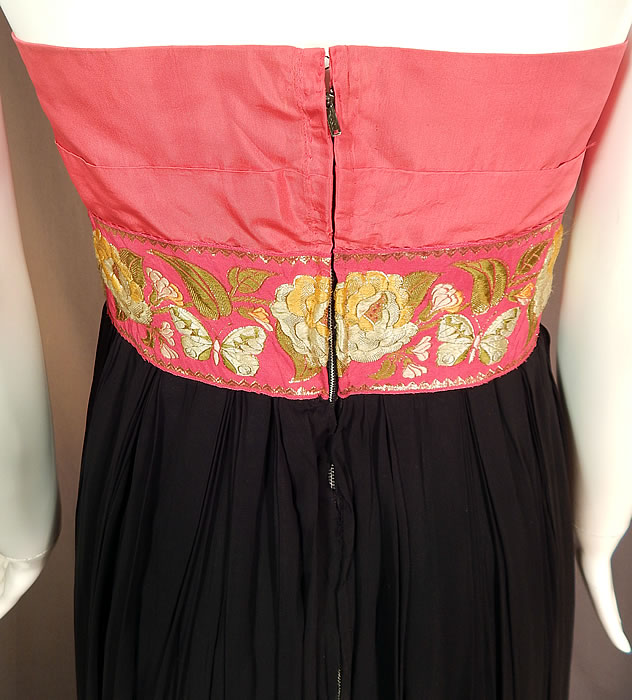 Vintage Pink & Black Pleated Chiffon Strapless Evening Gown Cocktail Dress