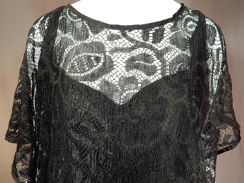 Vintage Art Deco Black Silk Sheer Lace Batwing Blouse Flapper Fringe Tassel Top