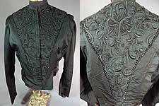 Victorian Vintage Black Silk Embroidered Jet Beaded Bodice Coat Jacket Top