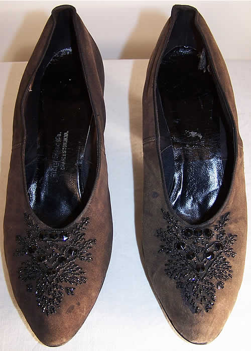 Edwardian Brown Suede Jet Beaded Shoes  Front view.