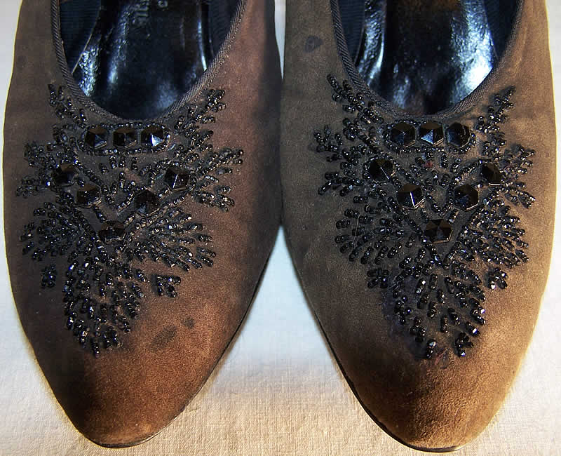 Edwardian Brown Suede Jet Beaded Shoes