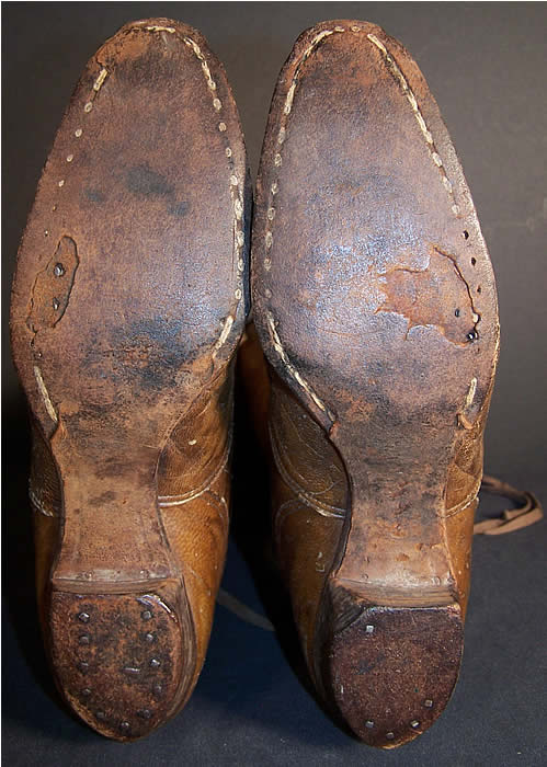Victorian Ladies Brown Leather Hiking Boots