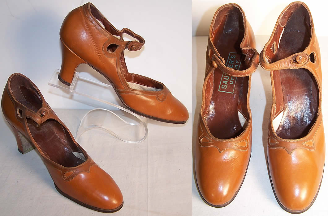 Sautter's N.Y. Unworn Brown Mary Jane Shoes Front view