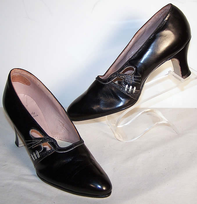 Art Deco Black & Silver Leather Flapper Shoes Front view.