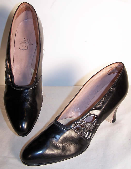 Art Deco Black & Silver Leather Flapper Shoes