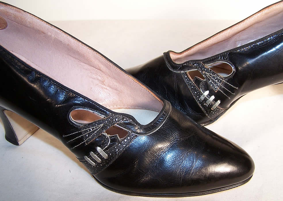 Art Deco Black & Silver Leather Flapper Shoes side view.