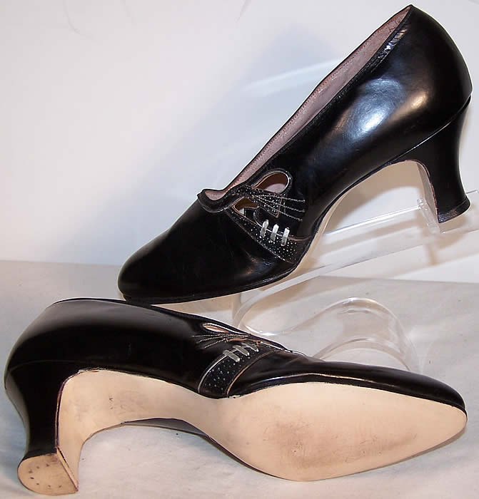 Art Deco Black & Silver Leather Flapper Shoes Close up.