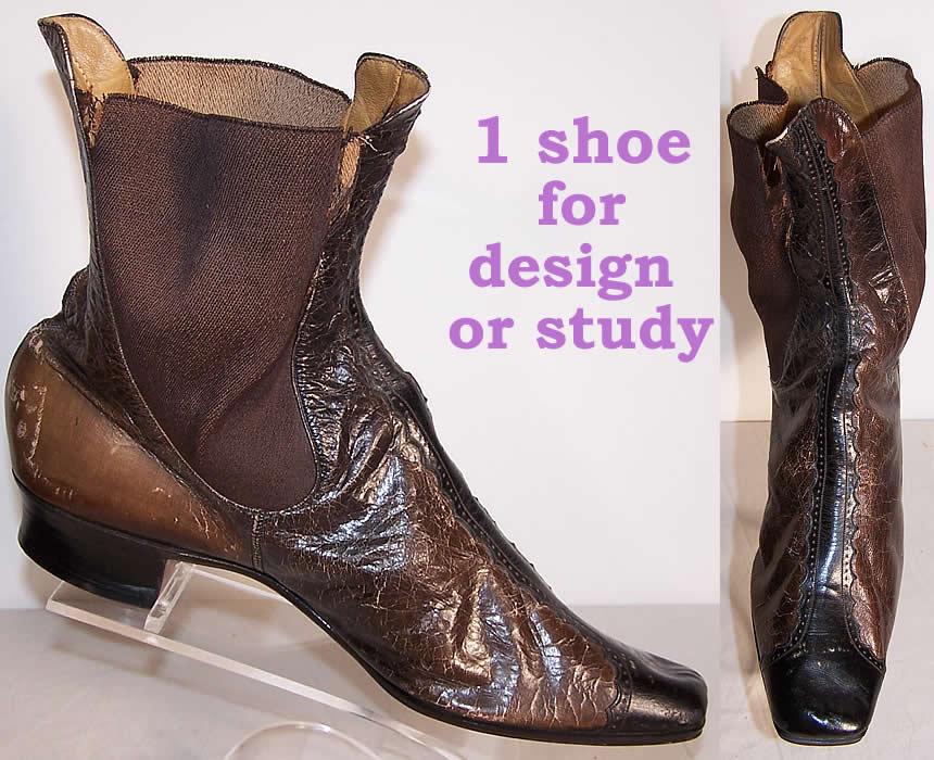1 French Victorian Brown Black Leather Dainty Half Boot  Front view.