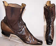 1 French Victorian Brown Black Leather Dainty Half Boot