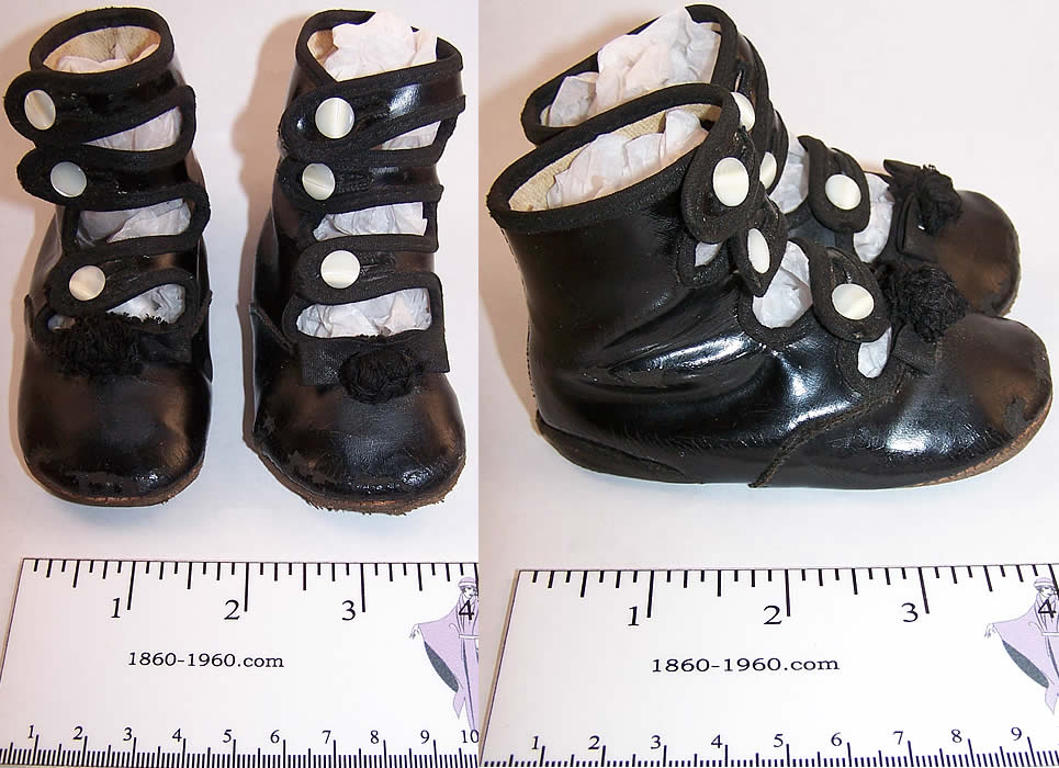 Victorian Black Leather High Button Strap Baby Shoes  Front view.
