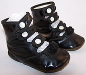 Victorian Black Leather High Button Strap Baby Shoes