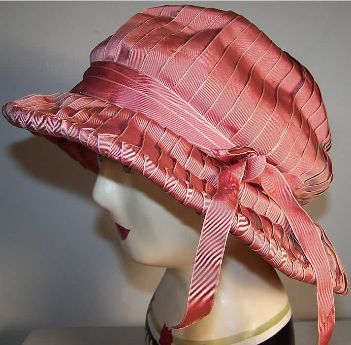 Maison Lewis Paris Pink Flapper Cloche Hat  Front view.
