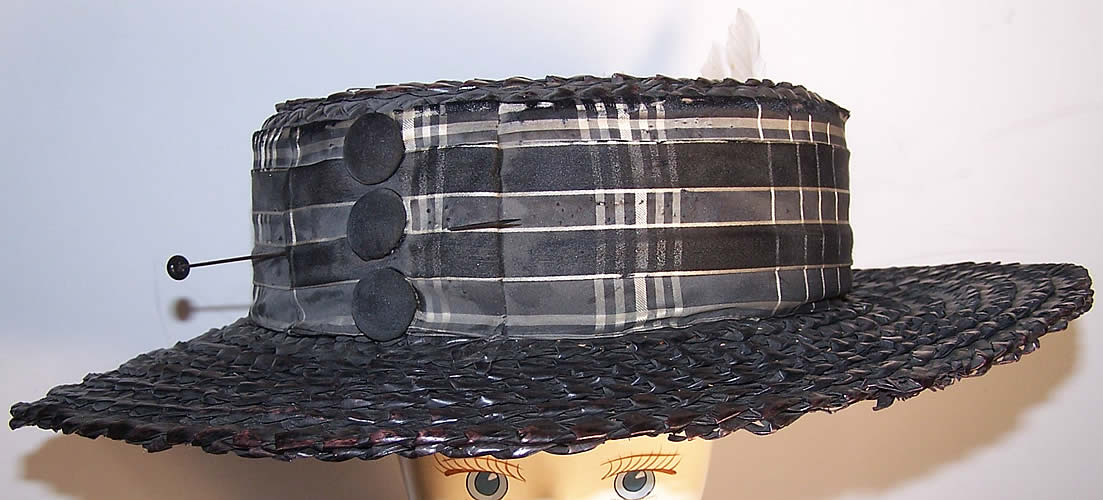 Edwardian Ladies Black Straw Sailor Boater Bicycling Hat  Front view.