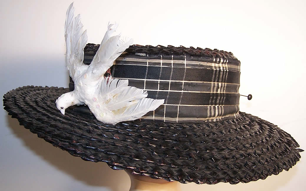 Edwardian Ladies Black Straw Sailor Boater Bicycling Hat side view.