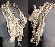 Victorian 1860 White Silk Ribbon Lace Net Snood Headdress