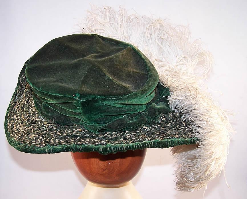 Victorian Emerald Green Velvet White Feather Brim Hat