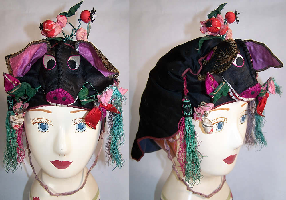 Antique Chinese Child Silk Embroidered Pig Wind Hat   Front view.