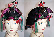 Chinese Child Infant Silk Embroidered Pig Wind Hat VTG