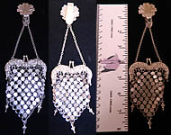 Victorian Antique Silver Repousse Chainmail Chatelaine Coin Purse & Belt Clip