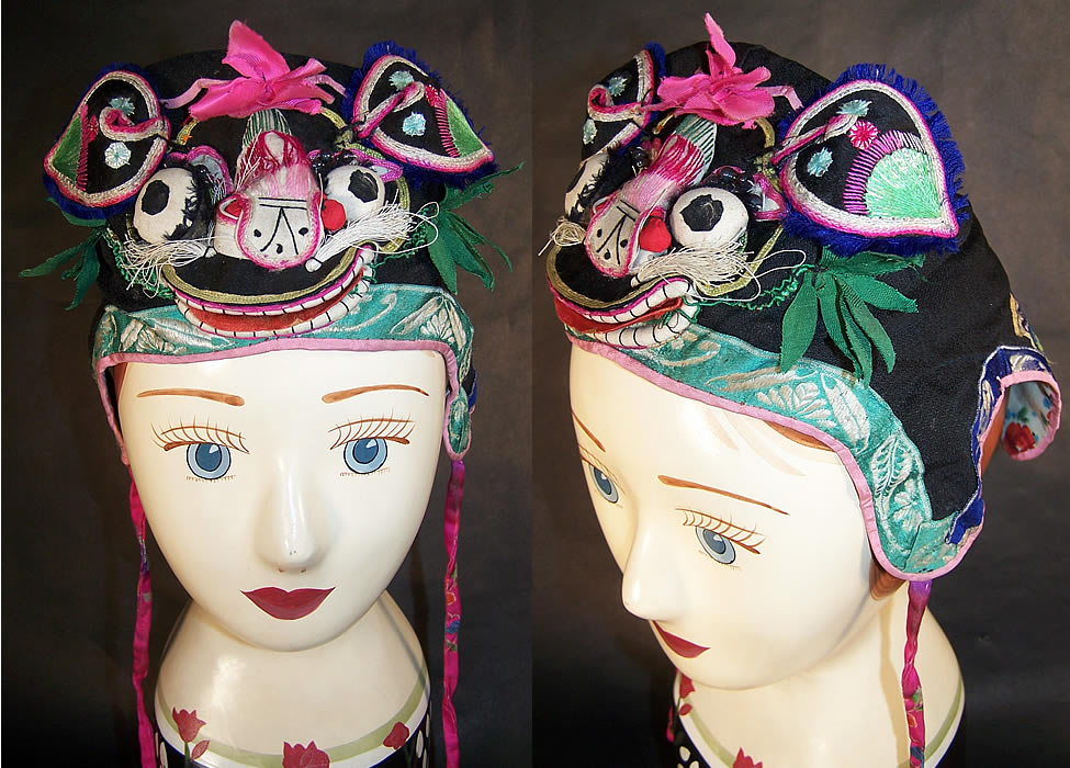 Chinese Child Infant Silk Applique Tiger Wind Hat  Front view.