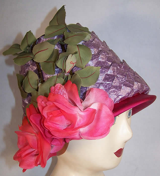 Vintage Michael Terre Purple Straw Flower Pot Cone Hat   Front view.