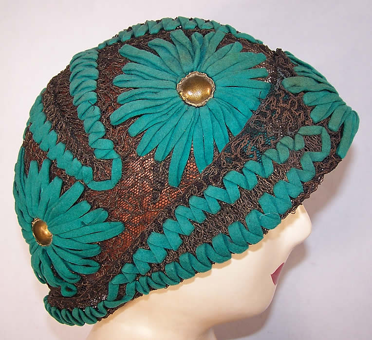 Art Deco Teal Felt Embroidered Gold Lace Flapper Cloche Hat Side View.