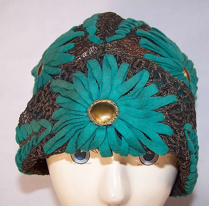 Art Deco Teal Felt Embroidered Gold Lace Flapper Cloche Hat front view.
