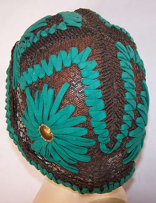 Art Deco Teal Felt Embroidered Gold Lace Flapper Cloche Hat back view