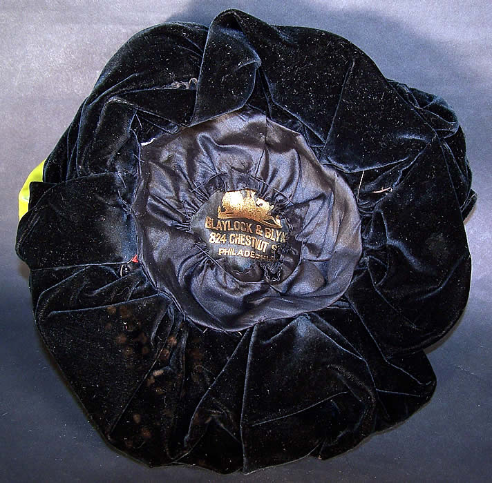Victorian Chartreuse Black Velvet Jet Beaded Bonnet Hat Close up.