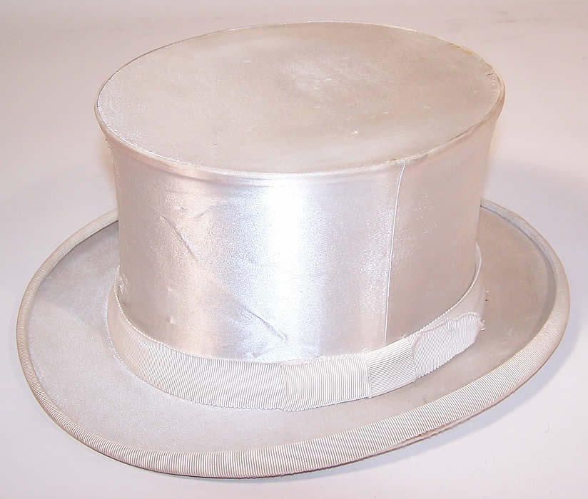 025e5ff8609 Vintage Gentlemen White Silk Satin Collapsible Crush Formal Opera Top Hat