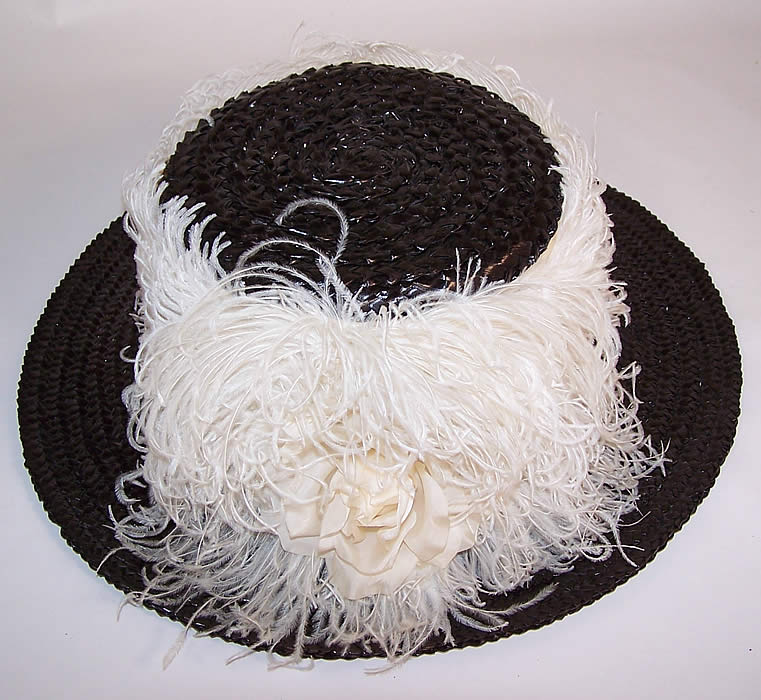 Titanic Black Straw White Ostrich Feather Oversized Wide Brim Boater Hat