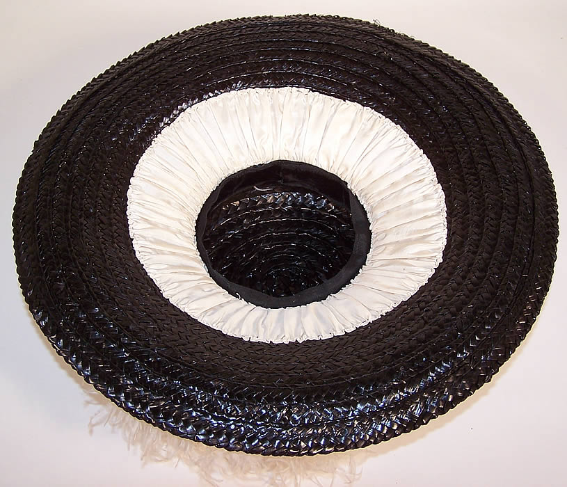 Edwardian Titanic Black Straw White Ostrich Feather Large Wide Brim Boater Hat